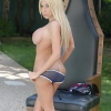 Gorgeous t-girl Kimber James stripping outdoors